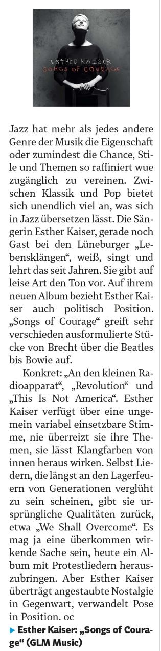 Esther Kaiser in Landeszeitung Lünebuerg 29_08_2018 (Seite 10)